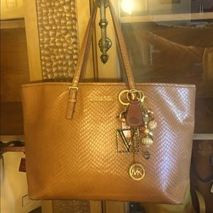 Michael Kors large leather tote in faux snake skin
